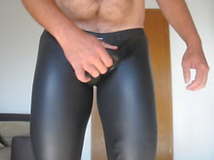 Cum in shiny wetlook Leggings