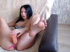 Camgirl masturbate with dildo on webcam