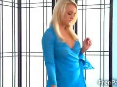 Stunning blonde masseur caught stealing