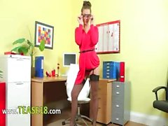 Incredibly hot secretary only stripping