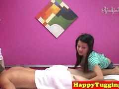 Busty japanese masseuse rides customers dick