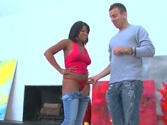 Hot body horny ebony honey blows hard part4