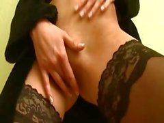 princess in black stockings teasing