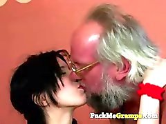 Grandpa plays with horny slut