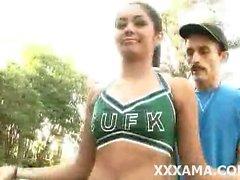horny hot naughty brunette cheerleader