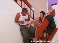 Teen Brunette takes a Thick Black Cock