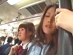 Japanese schoolgirls banged in bus