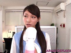 Cosplay secretary trying up some dildos