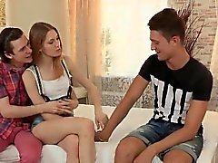 Indebted fella allows slutty mate to screw his exgf for hard