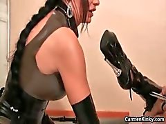 Kinky Carmen has fun with her sex slave part5