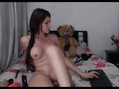 Brunette teen shemale goddess masturbates