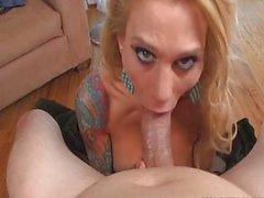 Tattooed Milf Sarah Jessie shows cocksucking