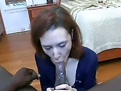 Redhead gives blowjob and fucks cock doggystyle