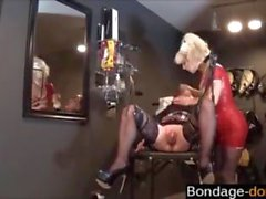 Blonde nurse humiliates a hot babe in a schoolgirl skirt
