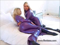 Lesbian latex fetish babes intimate shiny rubber