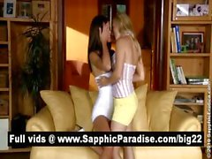 Sensual blonde and brunette lesbians kissing and fingering pussy and having lesbian sex