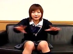 Adorable Japanese schoolgirl flashes her pink panties for t