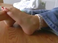 Alexis Capri Cute Girly Feet on the Table