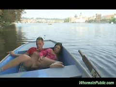 Brunette whore gets hard pussy fucked in public deep