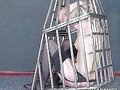 Caged blonde teen submissive punished and enslaved