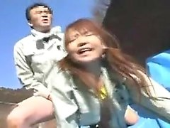 Adorable Japanese babe gets pounded hard doggy style in the