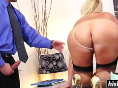 Blonde MILF with glasses gets a pounding