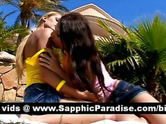 Sensual brunette and blonde lesbians kissing and licking nipples and having lesbian love