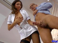 Teenage nurse doggystyle drilled by senior