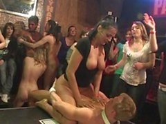 Nasty babes are happy to use male striptease performers to satisfy sex fever