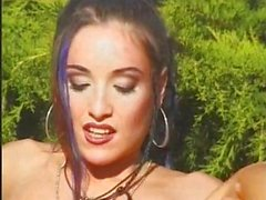 Young gothic babe fucked outside