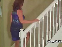 Hot blonde cougar in lingerie seduces neighbor and wife comes home