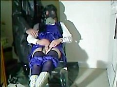 Cissy schoolgirl slut cums for rubber master