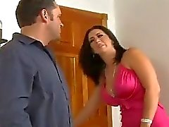 Hot chick with big boobs welcomes hot neighbor