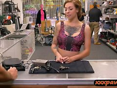 Busty tattooed woman railed by pawn guy at the pawnshop