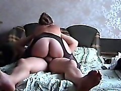 Kinky housewife puts on sexy black lingerie and takes a har