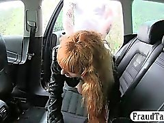 Redhead gal flashes her twat then fucked by fraud driver