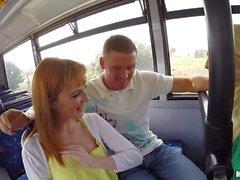 Naturally busty Anna Darling gives bus blowjob