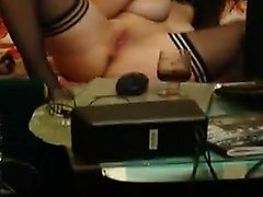 Busty brunette slut on cam proposition together with her la
