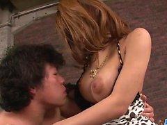 Japanese milf with huge tits, Haruka Sanada, loves fucking