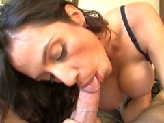 Wow! The tits on housewife Ariella Ferrera are amazing as she gives a POV BJ