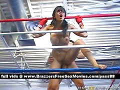 Petite brunette on the boxing ring gets her pussy fucked
