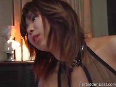 Hot Japanese babe with big tits rimming his ass