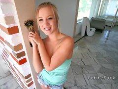 Adorable petite blonde sucks huge dick pov