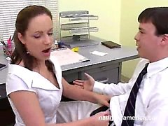 Naughty Naudia boss's wife dominates employee blows him wtk