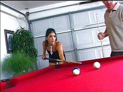 Billiard lesson for hot Brodie