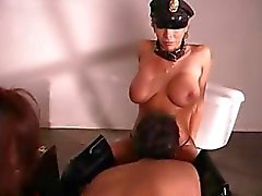 Busty wife lives her fantasy by fucking her husband with a strapon in threesome