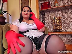 Full figured maid takes black cock to the max