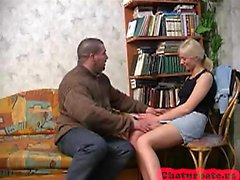 Graceful russian blonde doll masturbates