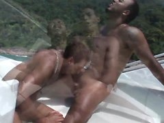 Seaside studs have raunchy sexy in a boat