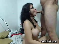 Busty Arab Nerd Sucking Cock And Fucking